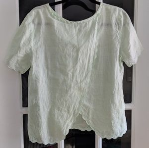 J. Crew linen drape back top in light mint